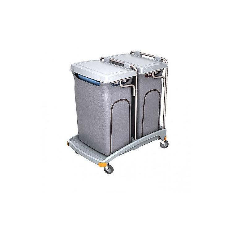 Wózek na odpady dwuworkowy 120l z pokrywą i workiem osłonowym TSO-0008