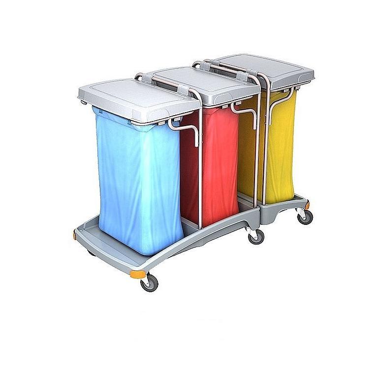 Wózek na odpady trzyworkowy 120l z pokrywą TSO-0010