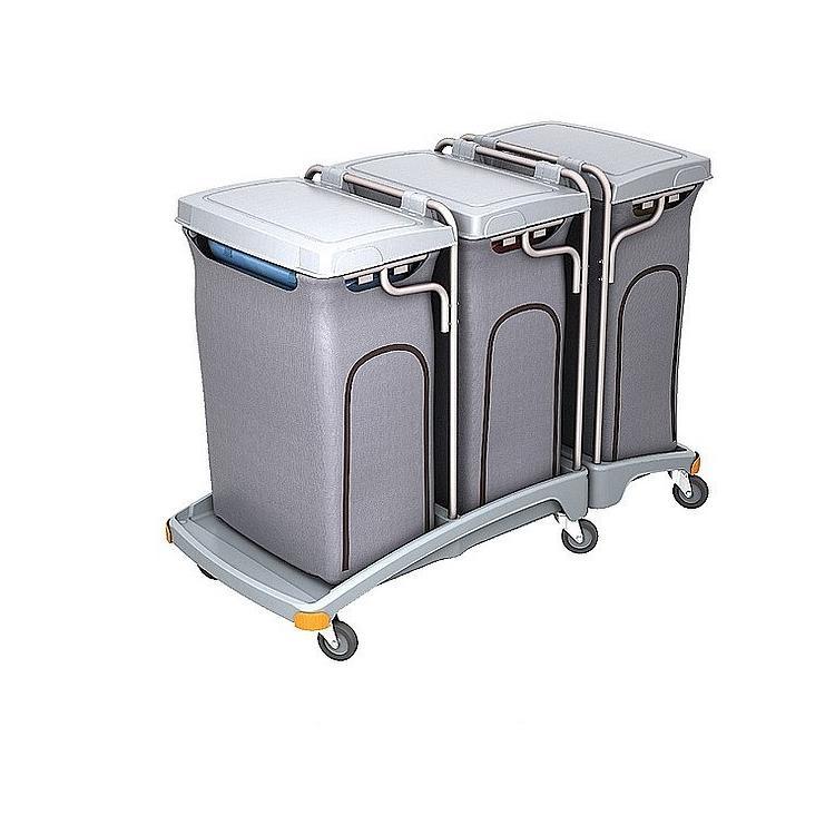 Wózek na odpady trzyworkowy 120l z pokrywą i workiem osłonowym TSO-0012