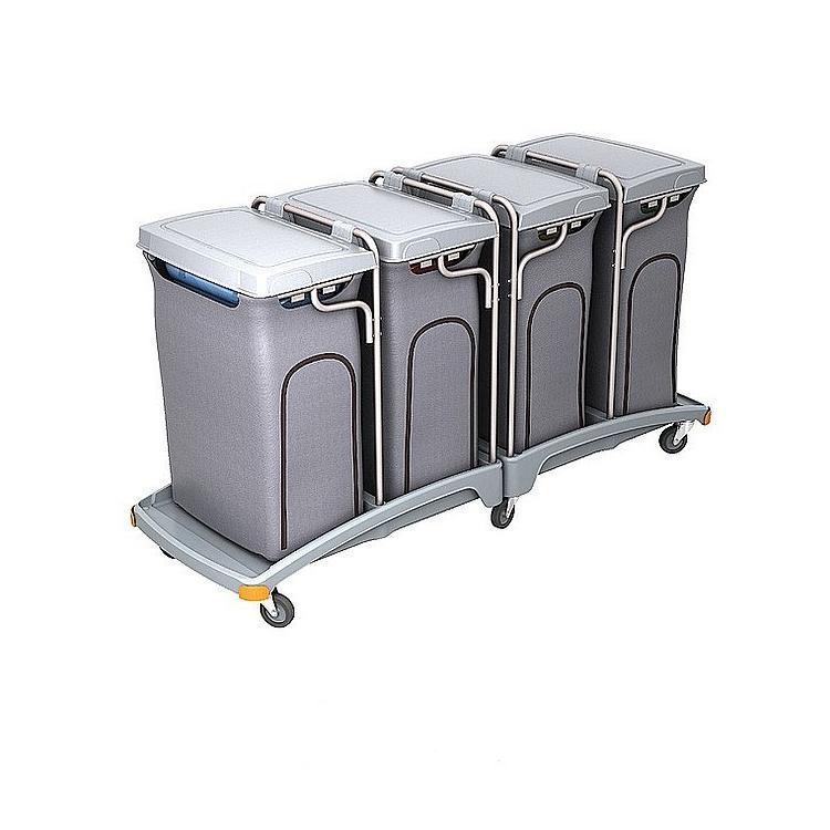 Wózek na odpady czteroworkowy 120l z pokrywą i workiem osłonowym