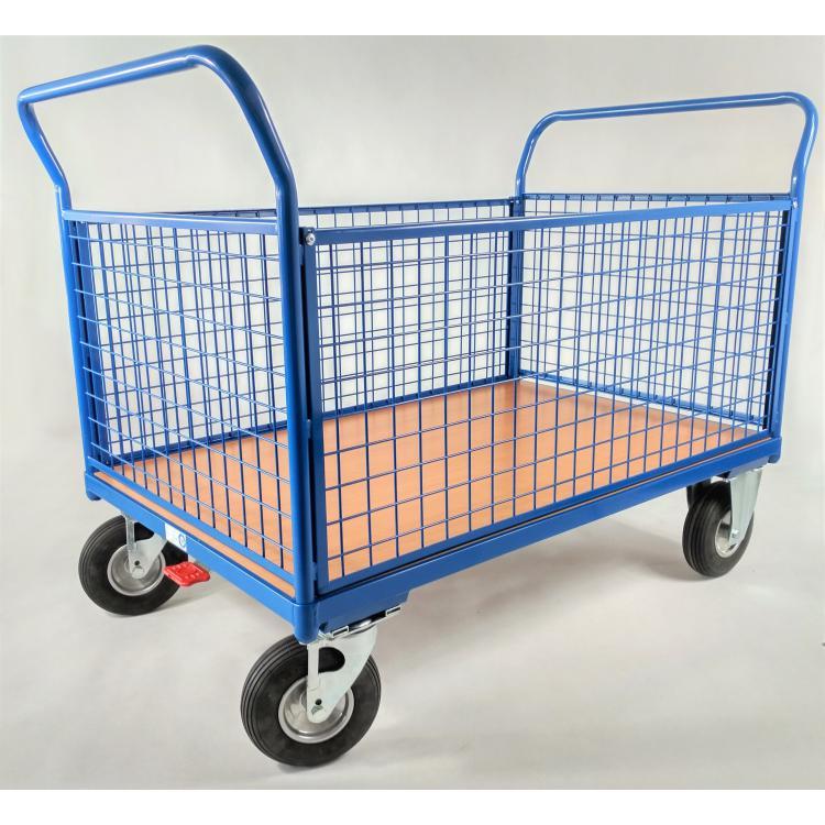Wózek siatkowy na kołach pneumatycznych z hamulcem