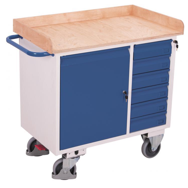 wózek warsztatowy z blatem i 6 szufladami