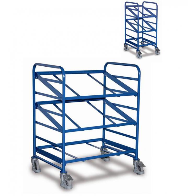 wózek z nachylnymi półkami