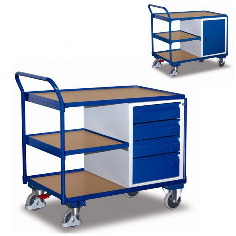 wózek narzędziowy z półką i szufladami na kluczyk