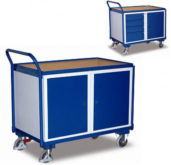 wózek narzędziowy zabudowany szafką i szufladami, zamykany