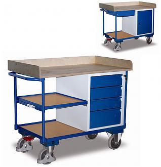 Wózek półkowy z szafką i szufladami, zamykany