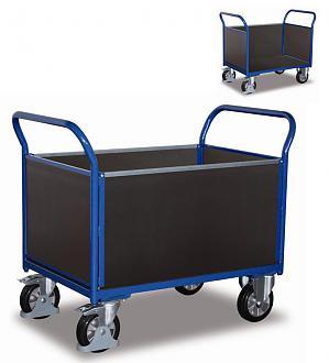 wózek kontenerowy zabudowany sklejką, udźwig 1000 kg