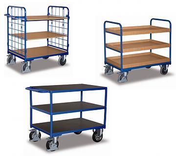 wózki półkowe 3 piętrowe, udźwig do 1000 kg