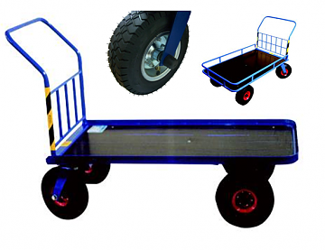 wózek platformowy na kołach pompowanych