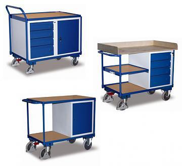 wózki warsztatowe, z szufladami i szafkami